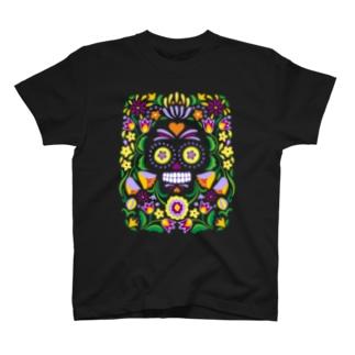 メキシカンスカル_halloween(濃色) T-shirts
