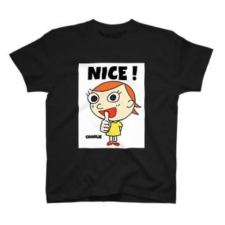 バックアップ白nice charlie  T-shirts