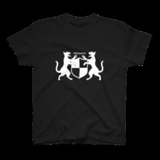 無真獣73号の吼える猫の紋章服・暗色向け T-shirts