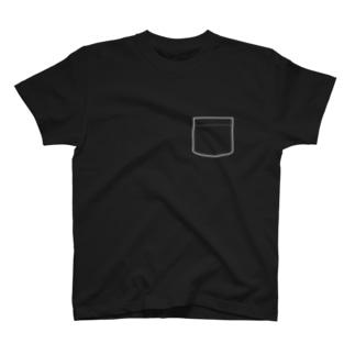 偽ポケット 白線 T-shirts