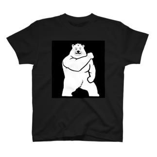 マッスル白熊(黒) T-shirts