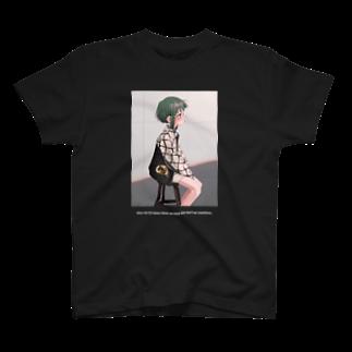 なで肩の緑髪ショート(黒) T-shirts