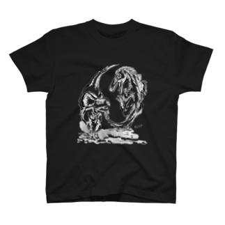 恐竜画家CANのグッズ博物館の古の闘い(もっとかっこいいver.) T-shirts