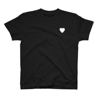 シンプルハート(白) T-shirts