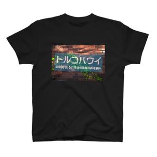 トルコハワイ_煉瓦_水色幕 T-shirts