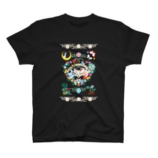 猫と鳥の結婚式カップル T-shirts
