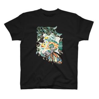 植物魚と猫蝶とオニオオハシ T-shirts