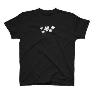 にこにこフラワーモノクロ T-shirts