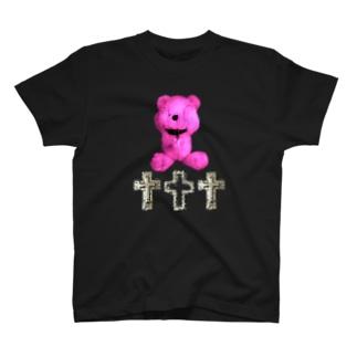 Peek-a-boo CROSS Teddy RASPBERRY  T-shirts