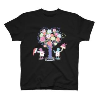 アリス★シルエット-バラとトランプ兵-パステル T-shirts