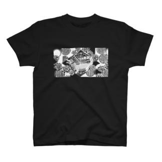 アジT メガネカイマン 黒 T-shirts