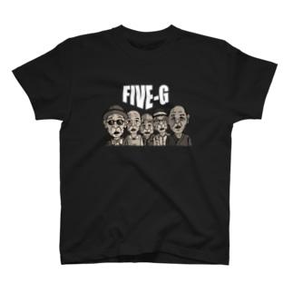 FIVE-G 白文字 T-shirts