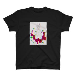 バックシャンれでぃ(白) T-shirts
