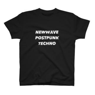 NEWWAVE POSTPUNK TECHNO white T-shirts