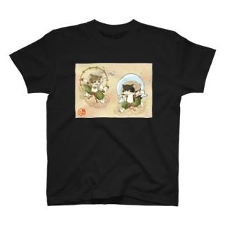 風猫雷猫図屏風 T-Shirt