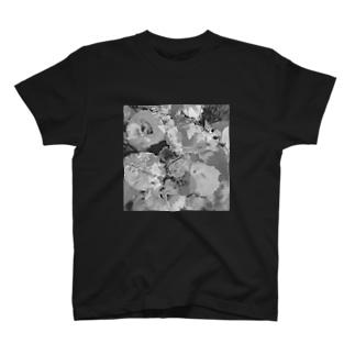 花 グレー T-shirts