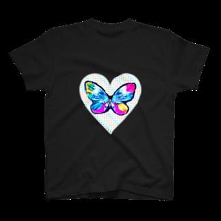 2step_by_Jrのバタフライとハート T-shirts