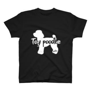02トイプードル 白シルエット T-shirts