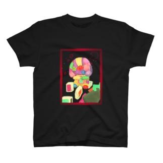 ぼろぼろパッチワークなしがーうさぎさん T-shirts