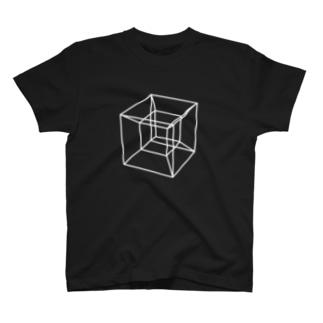 草笛鈴 / RIN KUSABUEの四次元超立方体 WHITE T-shirts
