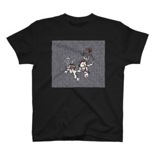龍と文様 モノクロ T-shirts