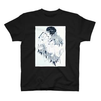 紫陽花男子 T-shirts
