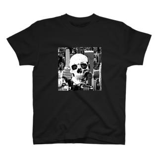 ドクロ+シティ T-shirts