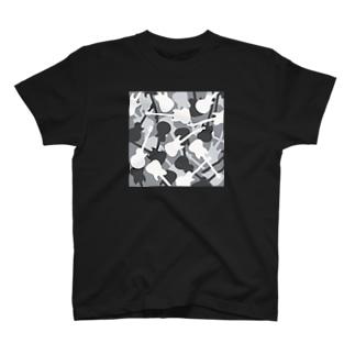 ギターカモフラージュ (グレー) T-shirts