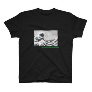 葛飾北斎グリッチ加工/浮世絵 T-shirts