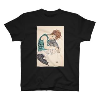 エゴン シーレ(Egon Schiele) / Seated woman with bent knee 1917 T-shirts