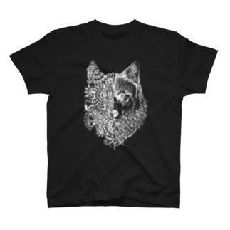 【アナログ/白インク/前面プリント】オオカミ T-shirts