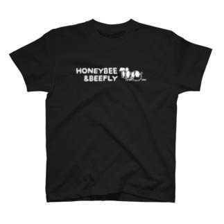 みつばち&つりあぶ 英字ロゴTシャツ(白インク) T-shirts