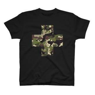 北欧の小さな雑貨店の迷彩十字 T-shirts
