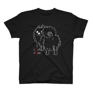 CT83いつも見ているポメラニアンE_*I LOVE POME*F T-Shirt