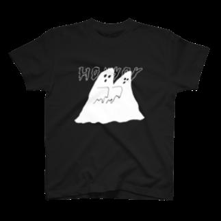 明季 aki_ishibashiのおばけちゃんシスター T-shirts