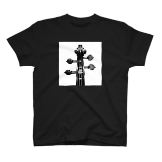 バイオリンのスクロール-モノクロ T-shirts