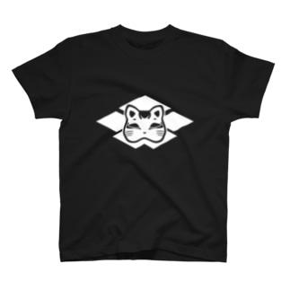 猫面の家紋(白) T-shirts