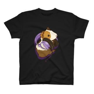 ヘッドフォンモルモット パープル T-shirts