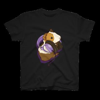 Lichtmuhleのヘッドフォンモルモット パープル T-shirts
