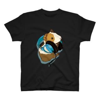 モルモットヘッドフォン ブルー T-shirts