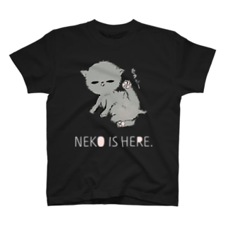 NEKO IS HERE.白文字 T-Shirt