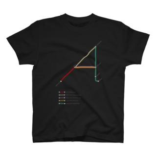 Rail Line Alphabet T-shirts 〈 A 〉 T-shirts