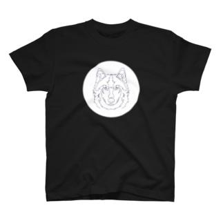ニホンオオカミ(破線) T-shirts