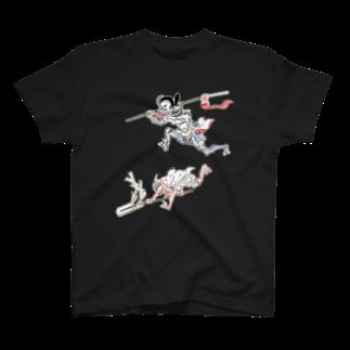 和もの雑貨 玉兎の百鬼夜行絵巻 矛を担いだ青い妖怪と大幣を振る赤い妖怪【絵巻物・妖怪・かわいい】 T-shirts