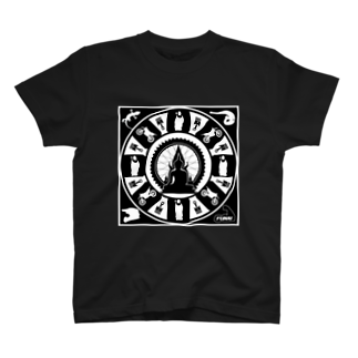 FUNAI RACINGの修行僧マンダラ(黒) Tシャツ