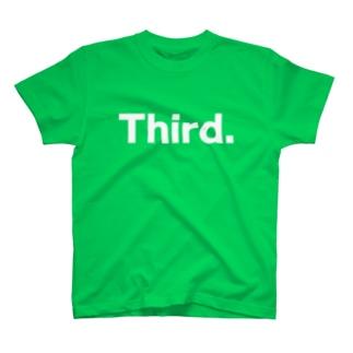 キッズ:兄弟ナンバリング「3」白プリント T-shirts