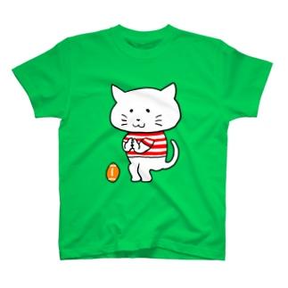 しろねこ 五郎丸ポーズ T-shirts