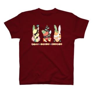 果物動物「洋梨馬」「林檎猫」「蜜柑兎」と芋虫 Tシャツ