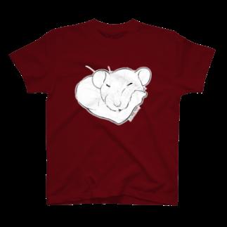ねずみのおみせ suzuri店のしろちゃんと一緒に筋トレしよう T-shirts