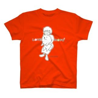 LOVE MOFU2 +piping モフモフをギュッとね T-shirts